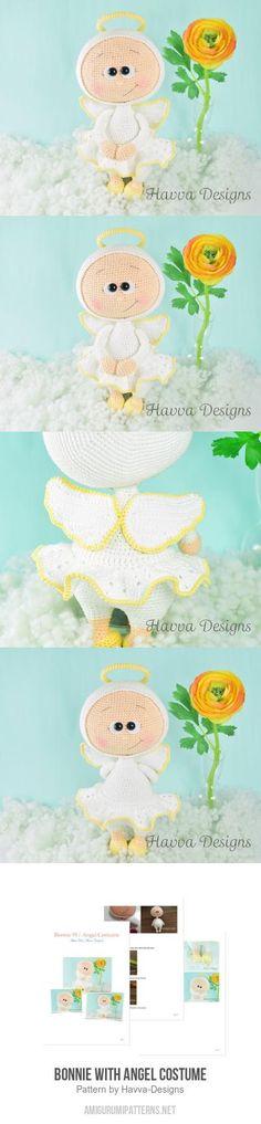 Bonnie with Angel Costume amigurumi pattern Crochet Doll Clothes, Crochet Dolls, Knit Crochet, Amigurumi Patterns, Amigurumi Doll, Crochet Patterns, Playground, Crochet Projects, Christmas Ideas