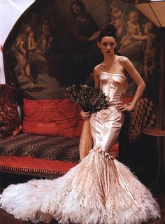 : Vogue US (March 1999)  Title: Ravishing Couture  Photographer: Arthur Elgort  Model: Audrey Marnay