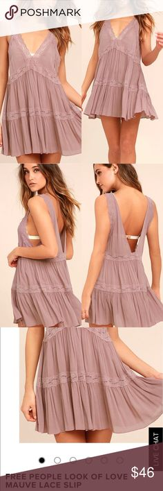 Free People Mauve Dress Love at first sight starts and ends with the Free People Look Of Love Mauve Lace Slip! Lightweight and gauzy woven fabric forms this sexy little slip with a plunging neck and back trimmed with lace. Tiered mini skirt has a flirty mini length and even more lace. Unlined and semi-sheer. Machine Wash Cold. Imported. Free People Dresses Mini