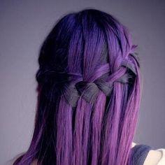 Waterfall braid in a deep purple shade. I'm sensing a theme here ...