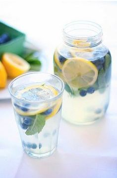 Summer water refresher!  Lemon, mint & blueberries