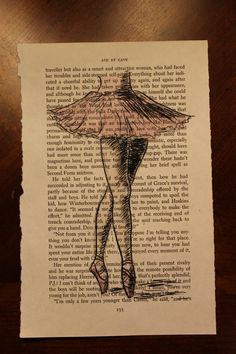 Book Page Drawing- Ballerina. $7.00, via Etsy.