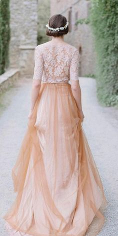 12 Sweet Ivory Wedding Dresses: Must Have For Brides ❤ ivory wedding dresses lace top with sleeves a line thelaceatelier ❤ #weddingdresses #weddingoutfit #bridaloutfit #weddinggown Ivory Lace Wedding Dress, Colored Wedding Dresses, Wedding Gowns, Our Wedding, Bridal Outfits, Looks Great, Tulle, Brides, Heaven