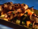 Guy's Jerked Chicken Kabobs.  OMG!!!  Best stuff EVER!  Huge hit!  The mango salsa is a must. For the marinade...it is nice to have a food processor.  I used a blender...it was tough, but do-able if that's what you have to work with.  YUM YUM!