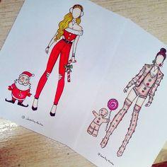 Christmas Eve 💖🎄 - Santa Claus or Gingerbread? App Drawings, Girl Drawing Sketches, Cool Art Drawings, Fashion Design Drawings, Fashion Sketches, Social Media Art, Cute Disney Drawings, Dibujos Cute, Black Girl Art
