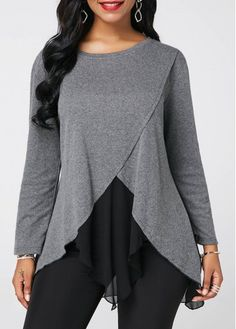 Long Sleeve Chiffon Patchwork Light Grey Blouse - Women's style: Patterns of sustainability Stylish Tops For Girls, Trendy Tops For Women, Blouses For Women, Grey Blouse, Long Blouse, Blouse Designs, Plus Size Outfits, Trendy Fashion, Fashion Dresses