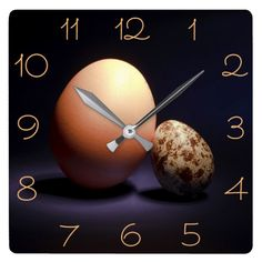 Chicken and quail eggs in love. square wall clock #clock #wallclock #chicken #quail #eggs #love #couple #lovers #beige #darkblue #stilllife #photography #darkness #funny #photo #food #kiychen #valentinesday  #darkpurple  #fantasy #youandme #customized #personalized #POD #graphics #artwork #buy #sale #giftideas #zazzle #discount #deals #gifts #shopping #mostpopular #trendy #cool #best #unique #stylish #gorgeous