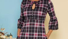 Rochie MBG in carouri cu fundita si decupaj la baza gatului Plaid, Blouse, Shirts, Tops, Women, Fashion, Chess, Blouse Band, Moda