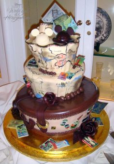 A vintage travel Disney wedding cake is something I need to have when I convince Mike to renew our vows.....