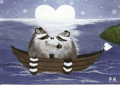 ACEO PRINT RACCOON MOON BOAT by WoundedTreeGallery on Etsy
