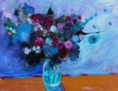 """Abstract Floral Still Life Painting Acrylic Canvas """"Bouquet in a Blue Room"""""""