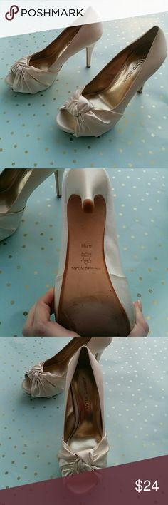 Wedding/Bridal Heels White Satin Bridal Heels, comfortable super squishy platform in the toe. Warm White. ANTONIO MELANI Shoes Heels