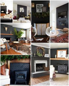 Bold Black Fireplaces, Black Painted Fireplaces, Painted Black Fireplaces, Painted Black Fireplace Surround, How to Paint a Fireplace, Painted Black Brick