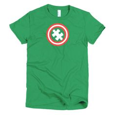 Autism T-Shirts Captain Autism Superhero Gift Short sleeve women's t-shirt