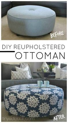 How to reupholster an ottoman; for the cost of a few yards of fabric you can take an old ottoman and make it look new again! via @heytherehome #ottoman #reupholster