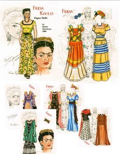 FRIDA KAHLO }{ bydmartgal (Denise Martinso) LONGTIME PAPER DOLL ARTIST
