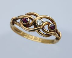 EDWARDIAN  Love Knot Ring  Gold Ruby Diamond - I am in love with this ring! So pretty!