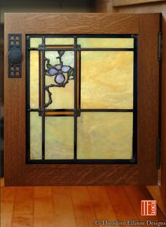 Theodore Ellison Designs- leaded glass for cabinet door to match nearby windows Stained Glass Cabinets, Antique Stained Glass Windows, Stained Glass Designs, Stained Glass Panels, Stained Glass Projects, Stained Glass Patterns, Leaded Glass, Stained Glass Art, Mosaic Glass