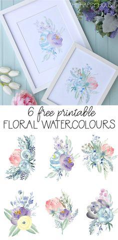 6 Free Printable Floral Watercolour Designs