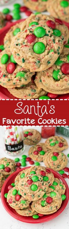 Santas Favorite Cookies - they must be because they're so good! And easy pudding cookie recipe filled with brown sugar and Christmas candy!