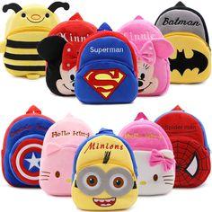 2016 Cartoon Kids Plush Backpacks Spiderman Mini schoolbag Hello Kitty Plush Backpack Children School Bags Girls Boys Backpack