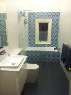 Bathroom tiles on pinterest small bathrooms tile and for Avocado bathroom suite ideas