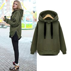 Hot Selling Women Fashion Side Zipper Hoody Sweatershirt Ladies Spring Winter Casual Hoodie With hood 29