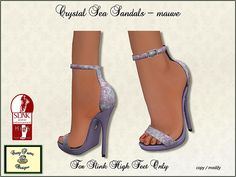 Sandals to match Crystal Sea mauve for Slink High Feet only