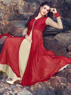 SKDAA9022A-Red-and-Cream-Chiffon-Suit-with-Stone-Work - saree.com