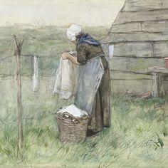 Vrouw bij een waslijn, Anton Mauve, 1848 - 1888 - Rijksmuseum
