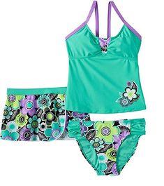 eb36644554 Big Girls' Cartwheel Tankini Swimsuit and Cover-up Skirt 3 Pc Set Floral  Tankini