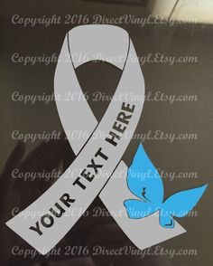 3146d76f0d399 YOU CHOOSE BUTTERFLY Gray Awareness Ribbon Vinyl Decal (Brain Tumor, Brain  Cancer, Allergies