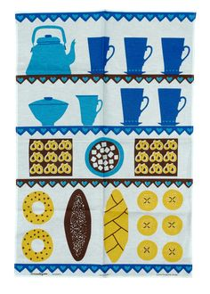 scandinavian tea towel vtg design fabric Louise Fougstedt Coffee and Cake Vintage Textiles, Vintage Prints, Retro Vintage, Vintage Tea, Vintage Stuff, Vintage Kitchen, Scandinavian Fabric, Scandinavian Design, Swedish Design