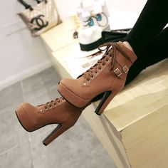 Platform High Heels, High Heel Boots, Heeled Boots, Shoe Boots, Ankle Boots, Women's Boots, Brown Boots, Black Boots, Combat Boots