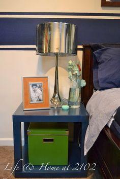 Simple nightstand good luck destroying the metal lamp! Boys Bedroom Decor, Boy Bedrooms, Bedroom Red, Bedroom Colors, Bedroom Ideas, Room Themes, Kid Beds, Boy Room, New Homes