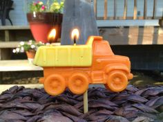 CONSTRUCTION BIRTHDAY CANDLE 4.00 by BabyBearCrayons on Etsy
