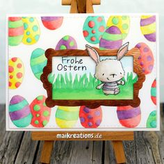"""Easter card using the sweet """"Willa"""" from Purple Onion Designs and the awesome Paper Smooches """"Frame 4"""".  You can find more pictures and a list of supplies used on my blog! Happy crafting, Maike maikreations  maikreations"""