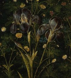 """Sandro Botticelli, Primavera (detail), c. 1482, tempera on panel.  Galleria degli Uffizi, Florence - """"But here's a detail that you've perhaps overlooked (unless you've scoured every surface of the painting in the Uffizi or using Google Art Project): the exquisitely painted flower that symbolizes Florence (lower right hand corner)."""" - See more at: http://wtfarthistory.com/post/19626343193/primavera#sthash.Pl139Sx5.dpuf"""