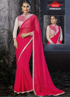 Bollywood Inspired Hot Pink Colour Georgette Mirror Work Saree Buy Sarees