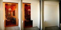 Room hidden behind paneled door.