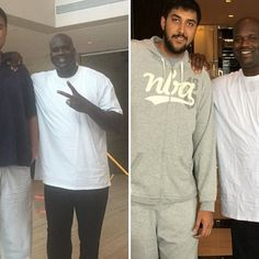 """There aren't many people in the world who can make the 7'1"""", 325-pound  Shaquille  O'Neal   look small. However, the stars aligned on Friday.  Above, we see  Shaq  with  Yao Ming  in Shanghai..."""