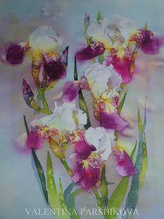 ирисы мои любимые. горячий батик 60x50   by Valentina Parshikova