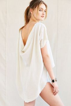 Urban Renewal Remade Drape-Back Gauze Top - Urban Outfitters