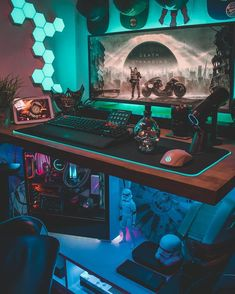 Such a great setup. If you played it, give You can find Gaming rooms and more on our . Gaming Desk Setup, Gamer Setup, Computer Setup, Pc Setup, Pc Computer, Bar Design, Layout Design, Home Music, Game Room Kids