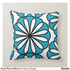 Floral Throw Pillow Accent your home with custom pillows from Zazzle and make yourself the envy of the neighborhood. Made from high-quality Simplex knit fabric, these 100% polyester pillows are soft and wrinkle-free. The heavyweight stretch material provides beautiful color.. #pillow #square #homedecor #home #interiordesign #interiors #interiorstyling #bedroom #bedroomdecor #oblong #zazzle #zazzlemade #zazzlecom #zazzlestore #flower #blue #white #square Floral Throw Pillows, Blue Pillows, Decorative Throw Pillows, Traditional Family Rooms, Tropical Design, Cotton Bedding, Diy Bedroom Decor, Home Decor, Custom Pillows