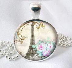Vintage Paris Resin Jewelry Art Pendant Resin by PishPoshPendants, $8.95