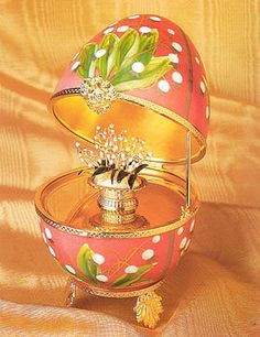 Lilies of The Valley Musical Egg Pink Faberge