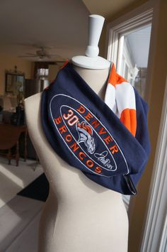 Recycled tshirt Denver Broncos infinity scarf by tenthreads