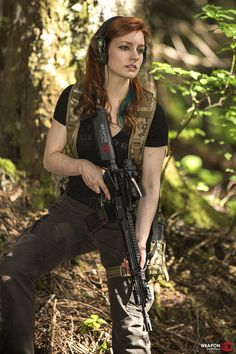 Ethereal Rose with a Primary Weapons SystemsMk114 with Triad flash hider and High Speed Gear Leg Rig Pictured GearBackpack by Grey Ghost Ge...