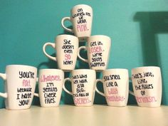 Mean Girls Quote Mug Set by hippydippydesigns on Etsy, $65.00 So you would get the shopping one...Alex would get the she doesn't even go here one...and I would go for the cheese fries one❤️